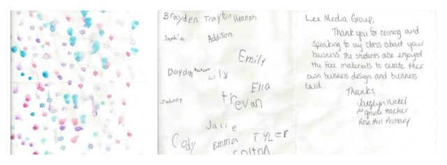 Thank you card from Mrs. NIckel's first grade class.