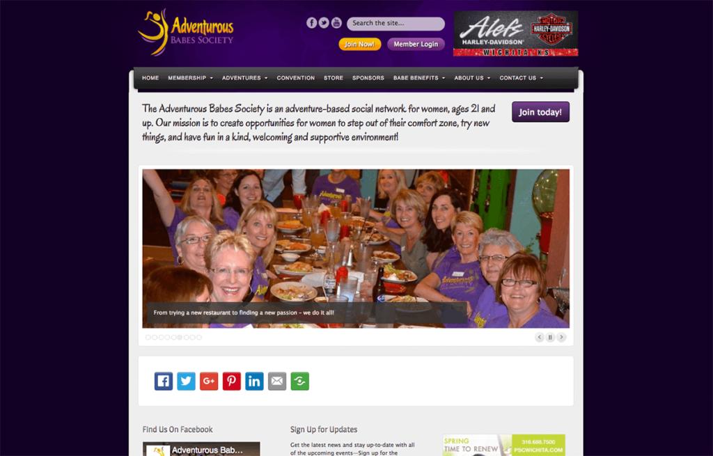 Adventurous Babes Society is a custom WordPress membership site