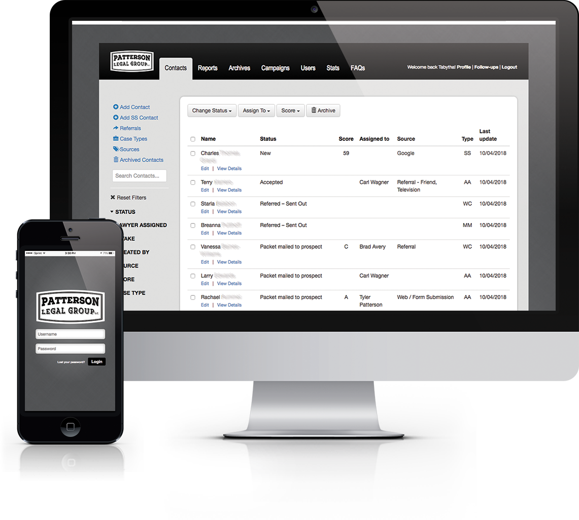 Customer Relationship Management (CRM) tool built from the ground up for local law firm