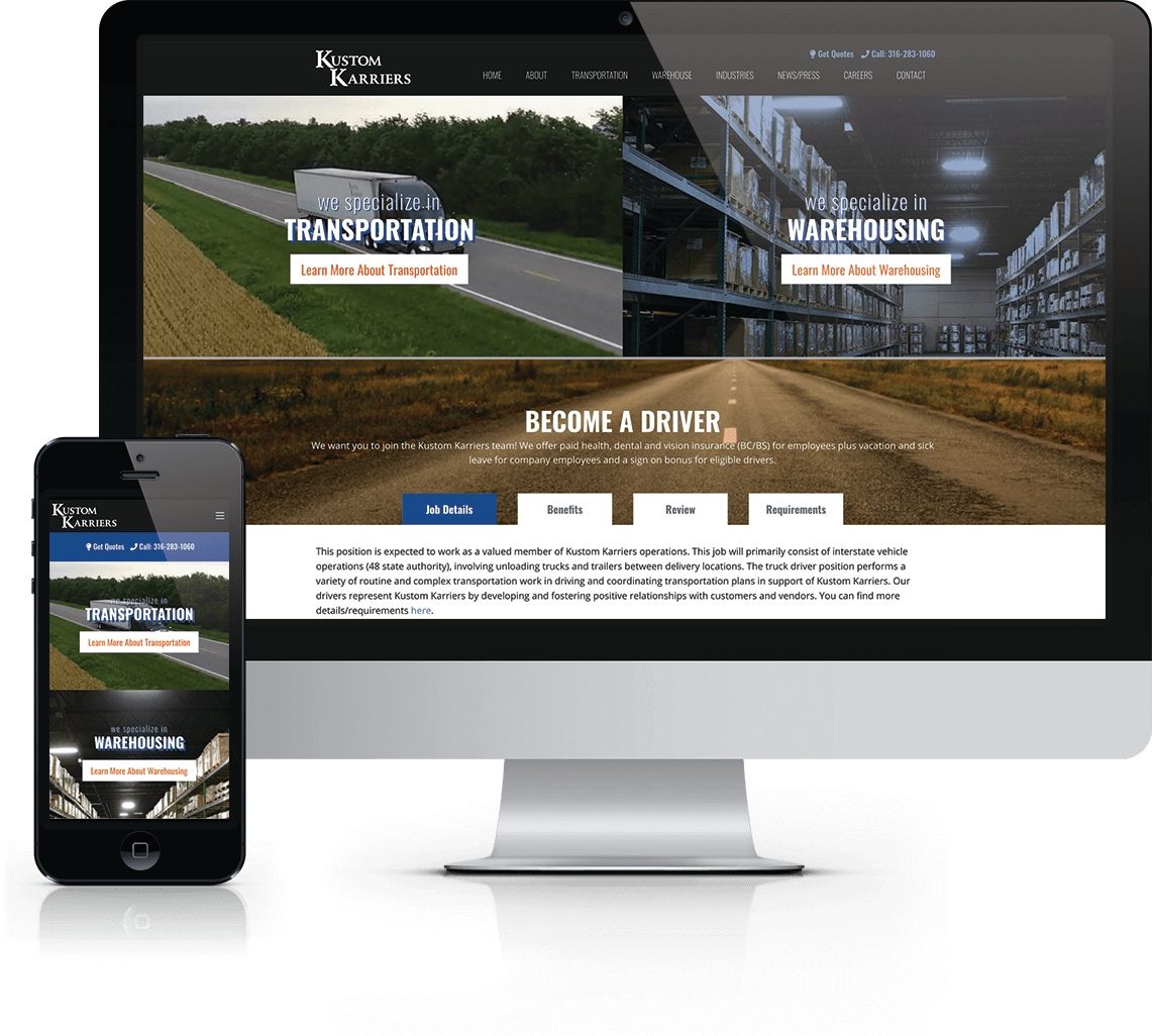 Website design + marketing support for transportation and warehousing company in Newton, Kansas