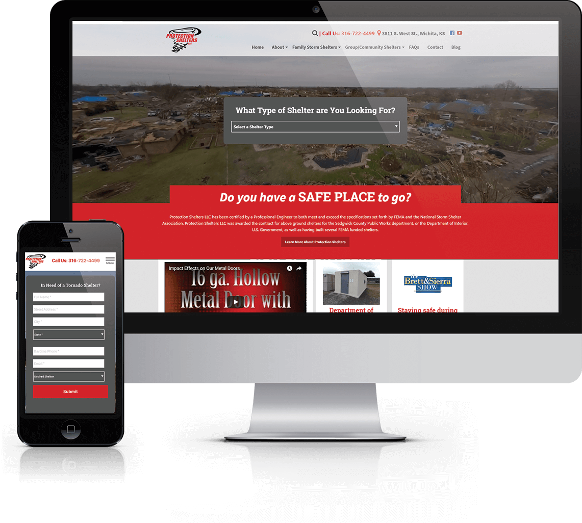 WordPress website, content assistance, and flyer creation for Kansas storm shelter provider