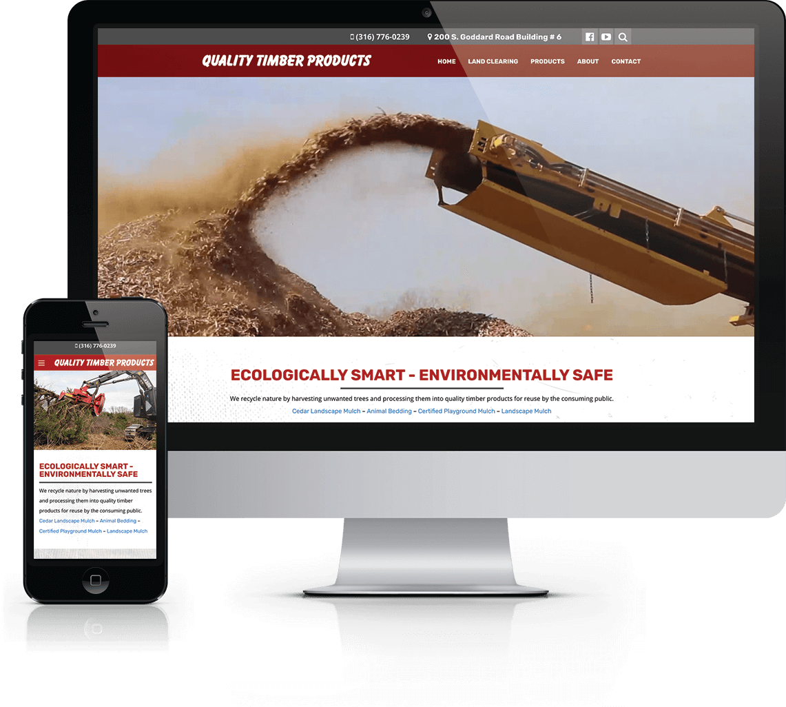 Custom WordPress website, photography and full service marketing for land clearing service and cedar mulch supplier