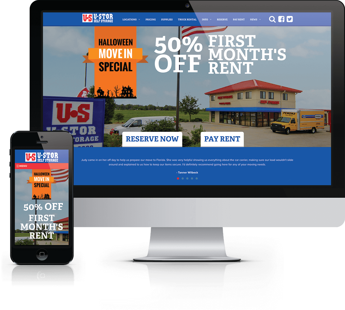 Online advertising, graphic design and custom WordPress website for Wichita-area self storage facility