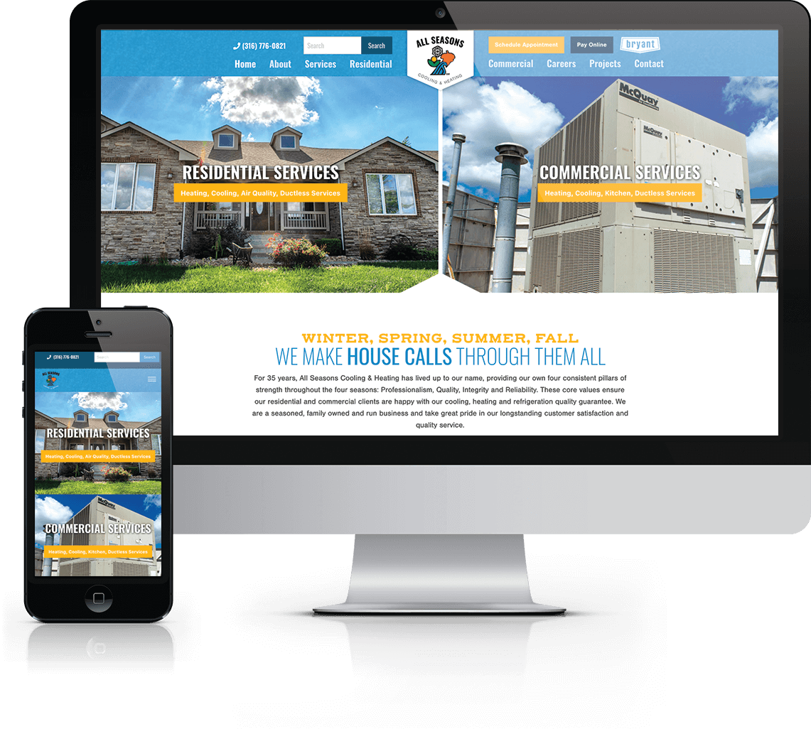 Responsive WordPress website for HVAC company in Rose Hill, Kansas