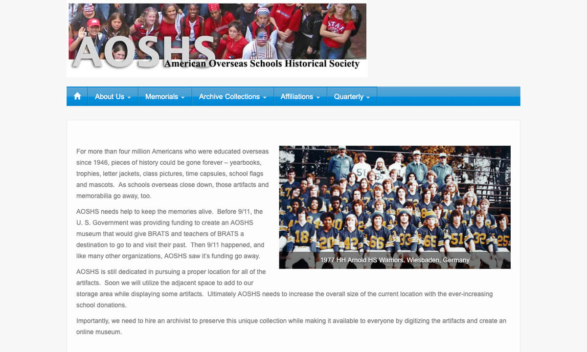 American Overseas Schools Historical Society Old Website