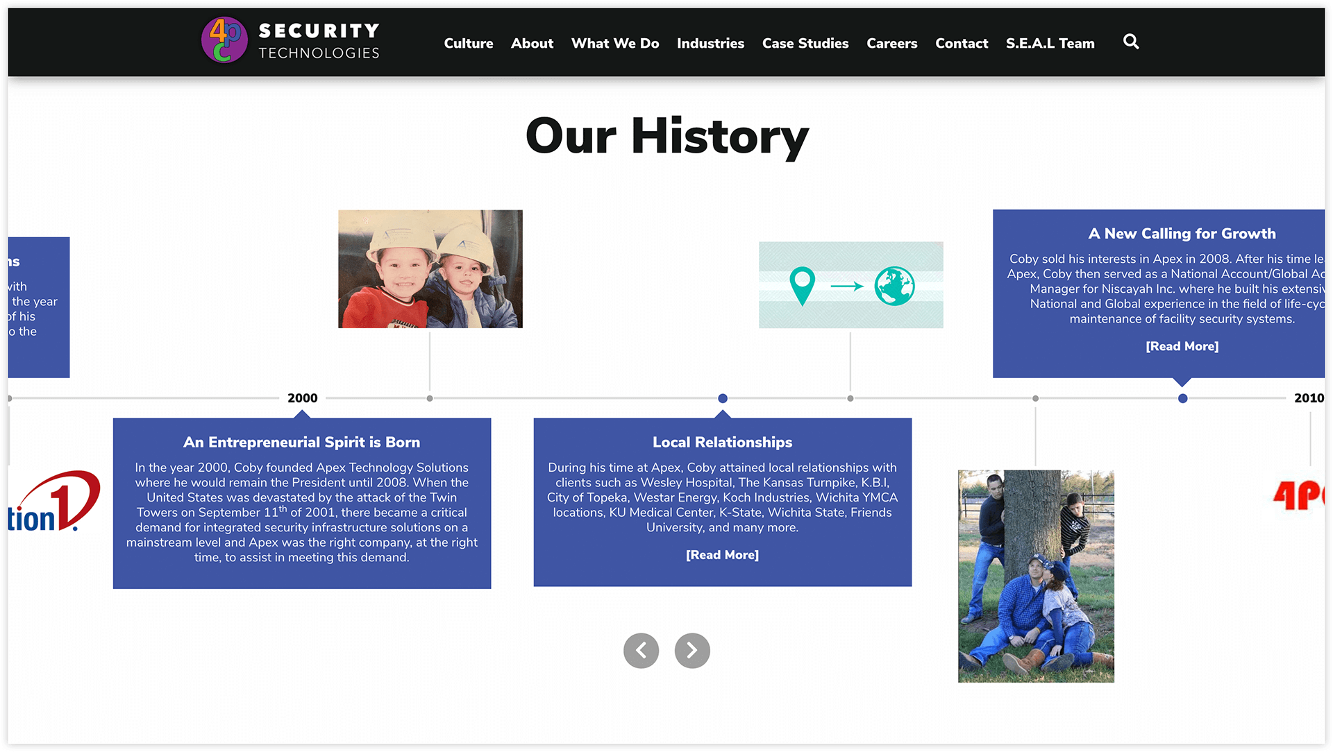 "The new design also features a unique horizontal timeline highlighting the history and growth of 4PC on the website's ""About"" page."